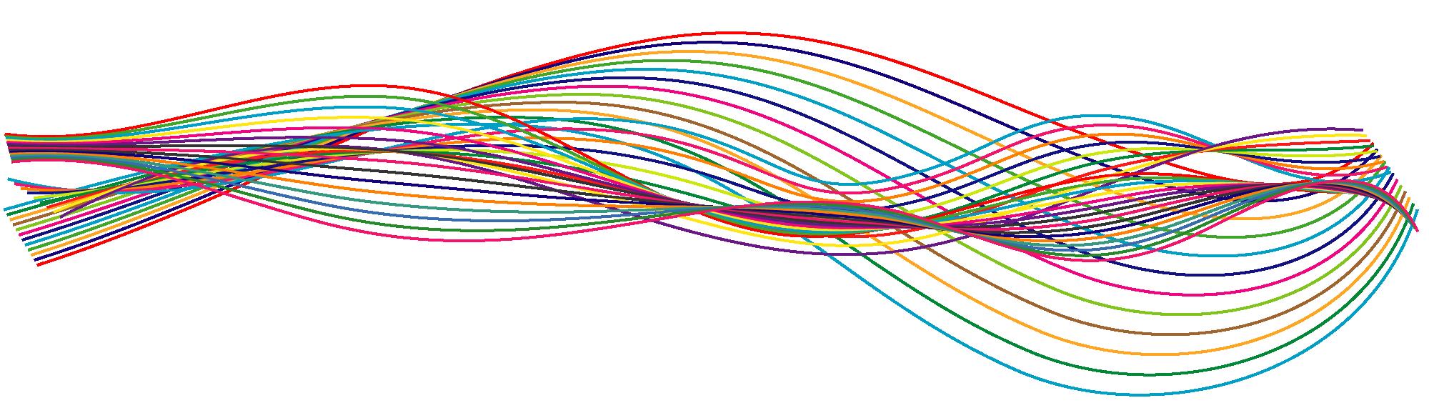 Gekleurde lijnen die door elkaar lopen, wisselend van elkaar afgaan en naar elkaar toegaan. Het is een symbolisering van meningen die soms gelijklopen en soms niet.