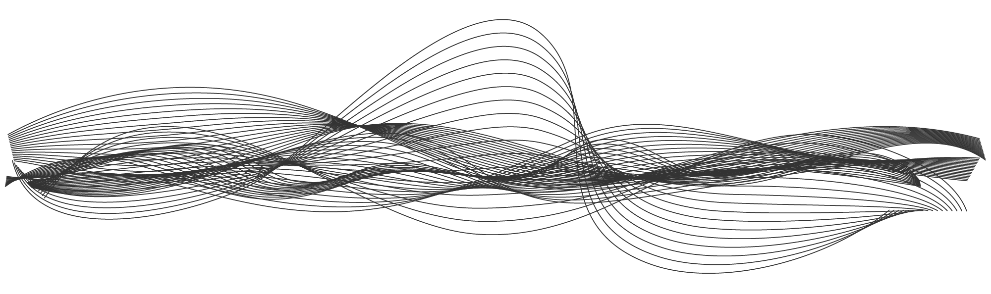 Zwarte lijnen die door elkaar lopen, wisselend van elkaar afgaan en naar elkaar toegaan. Het is een symbolisering van meningen die soms gelijklopen en soms niet.